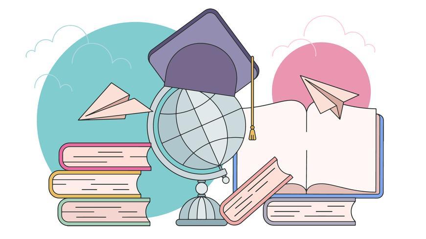 Libros y birrete con figuras de papel representando un intercambio estudiantil