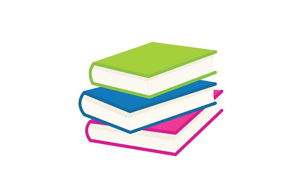 Portada plan de estudio con libros de color rosa, verde y azul