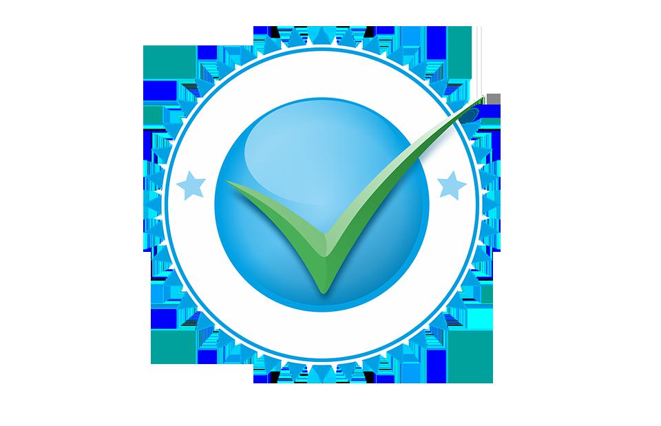 Icono de universidad certificada en color azul con una paloma verde al centro