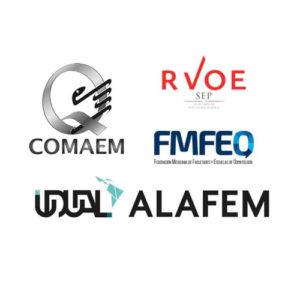 Logotipos de COMAEM, RVOE, FMFEO, UDUAL y ALAFEM