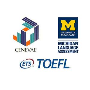 Logotipos de CENEVAL, MICHIGAN y TOEFL